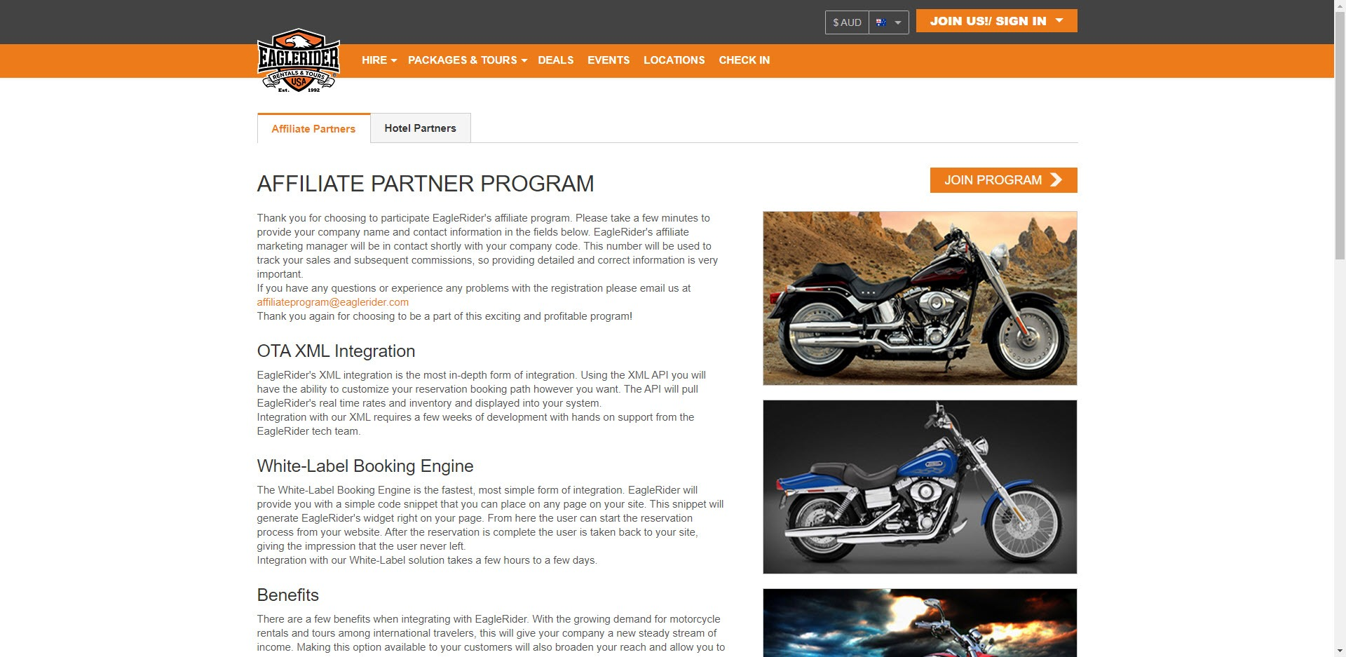 MotorCycle Affiliate Programs - Eagle Rider affiliate