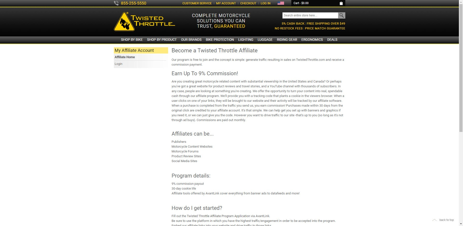 MotorCycle Affiliate Programs - Twisted Throttle affiliate