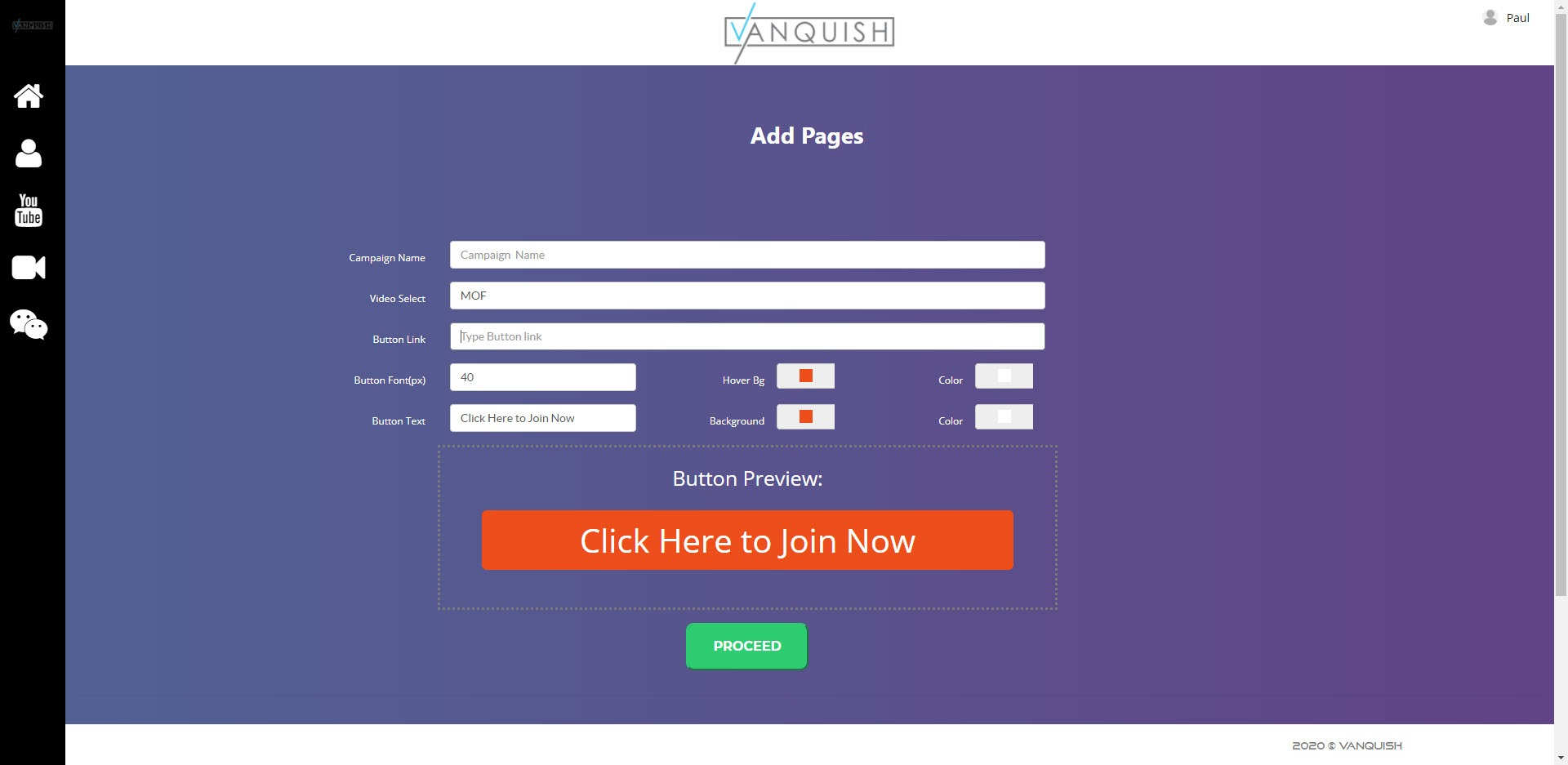 Vanquish Review - app home page