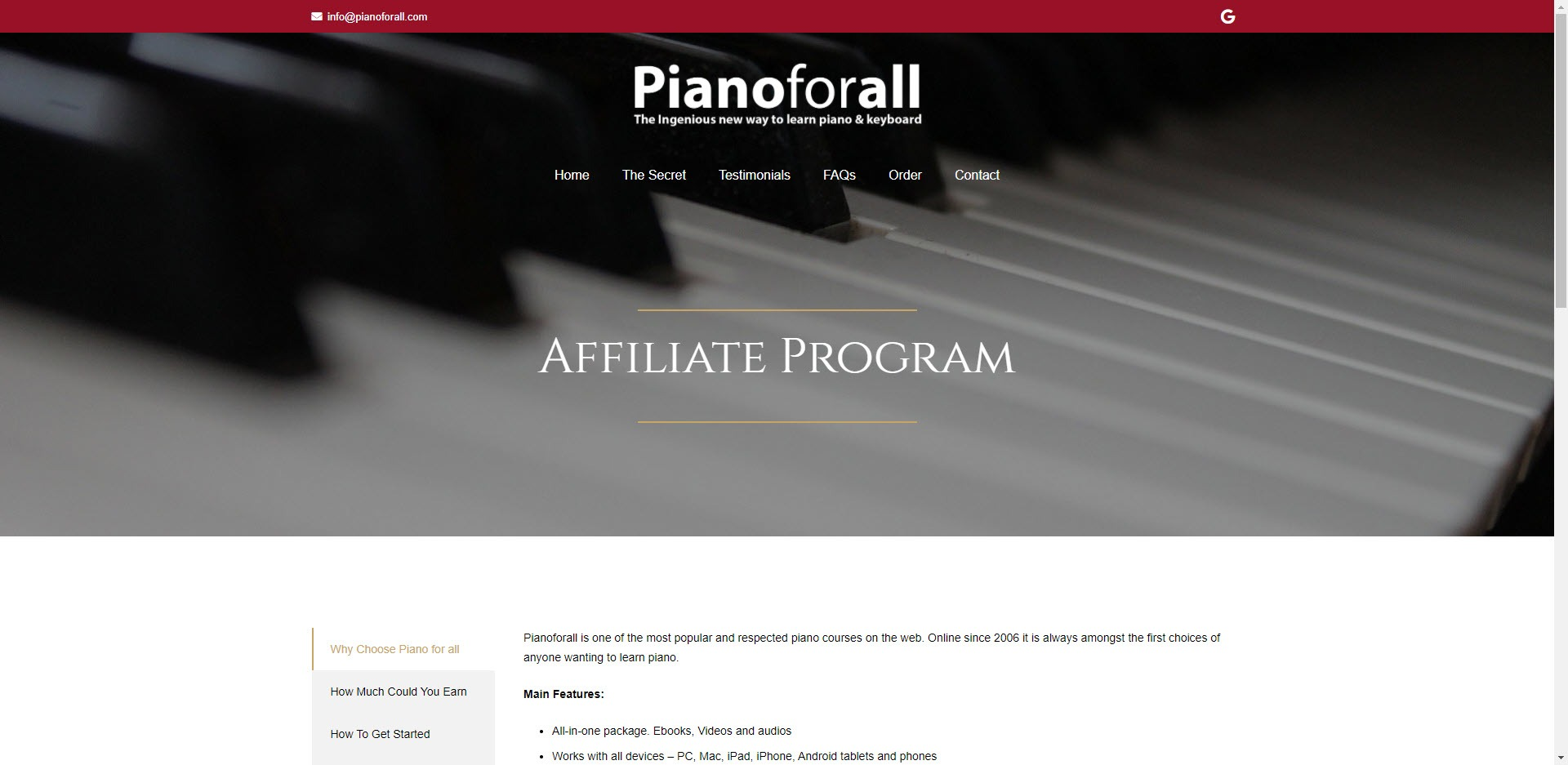 music affiliate programs - Piano for All affiliate