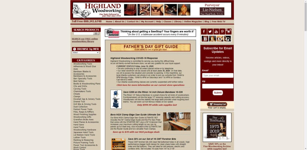Power tools affiliate programs - Highland Woodworking