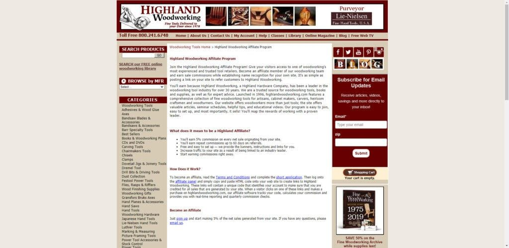 Power tools affiliate programs - Highland Woodworking Affiliate