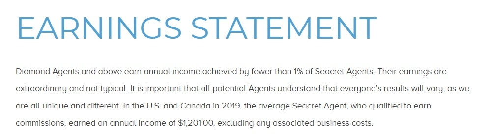 Seacret Direct MLM Review - Earnings statement