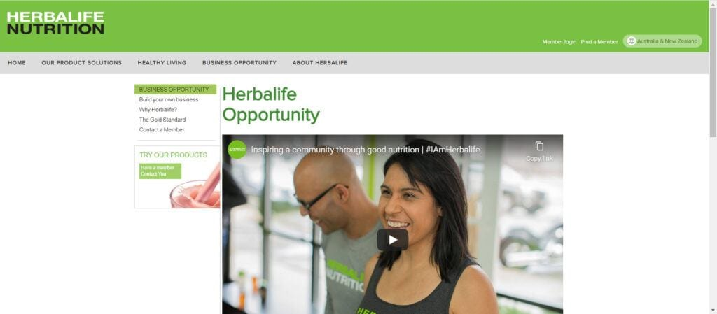 is herbalife MLM - opportunity page