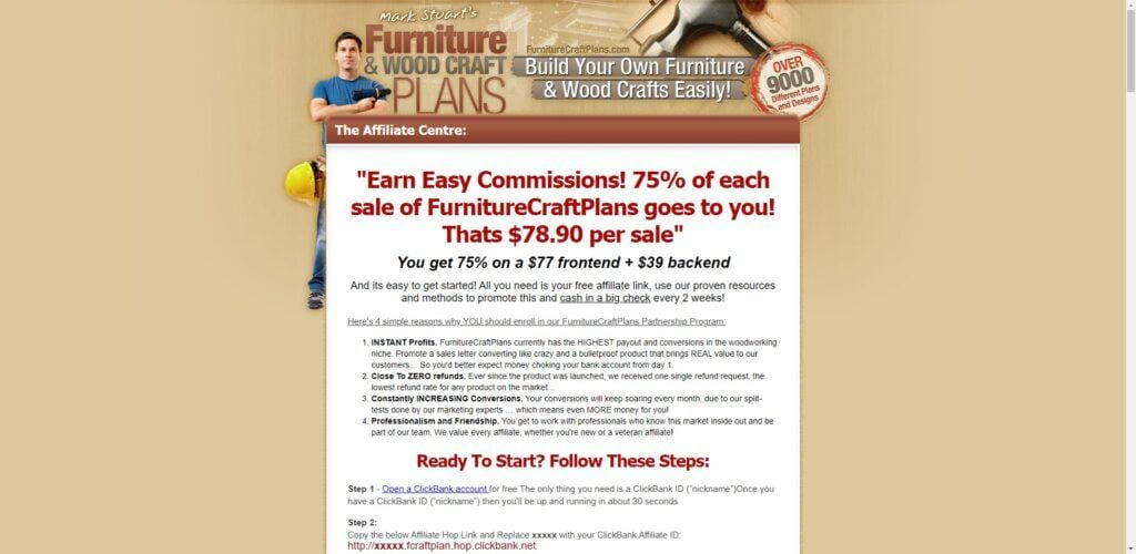 woodworking affiliate programs - furniture and wood craft plans affiliate