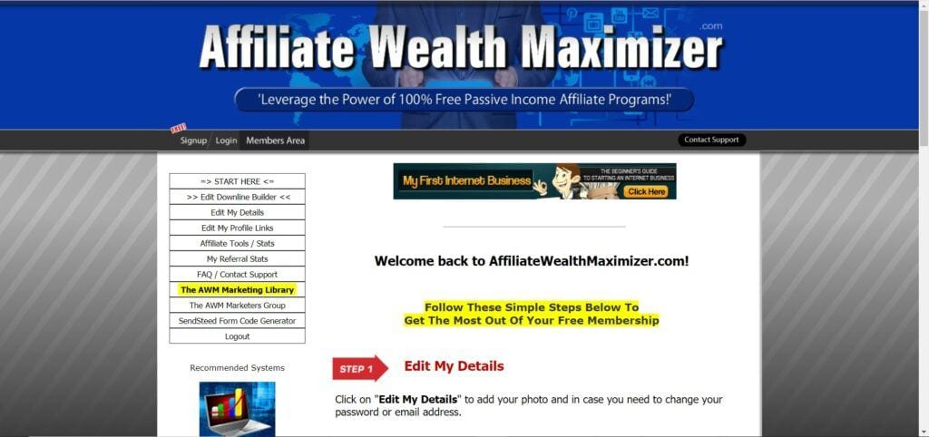 Affiliate Wealth Maximizer - member page