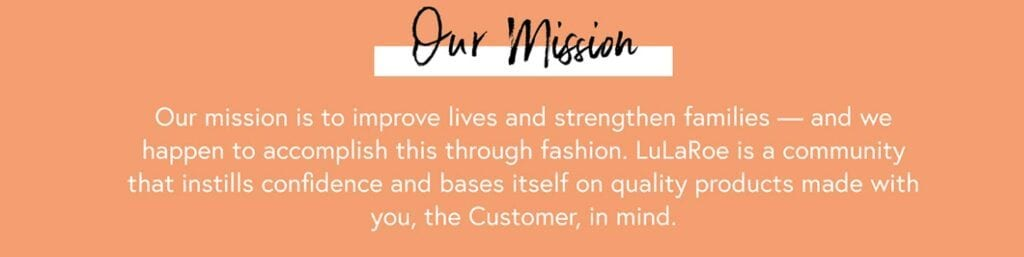 Lularoe MLM Review - Mission