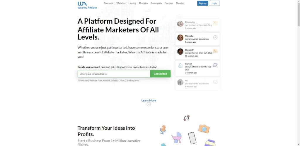 Wealthy Affiliate Affiliate Program Review - home