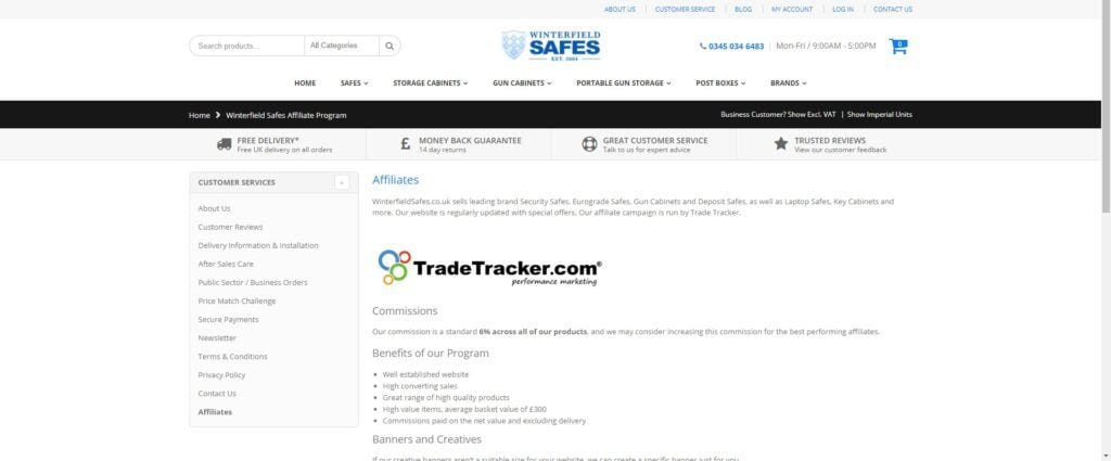 home security affiliate programs - Winterfield safes affiliate