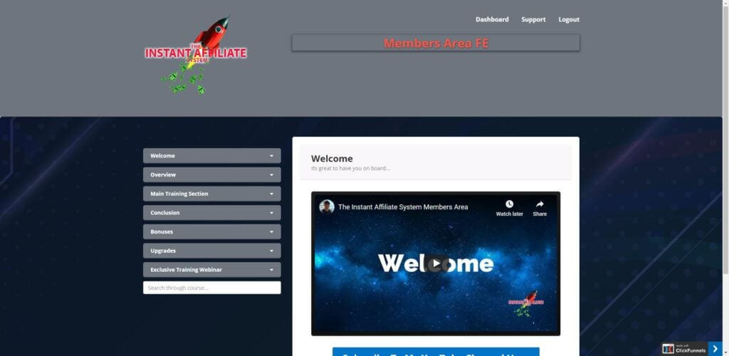 Instant Affiliate system review - Home Page