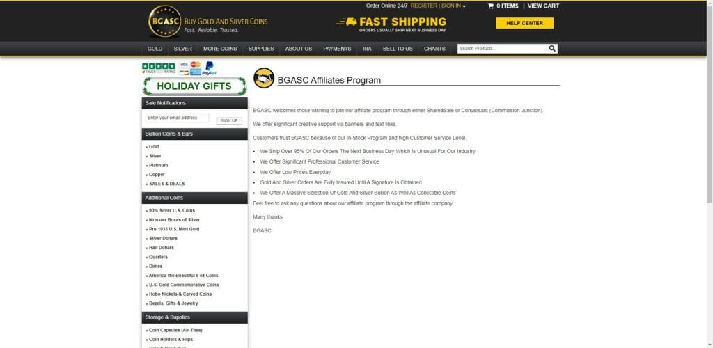 coin collection affiliate programs - BGASC affiliate