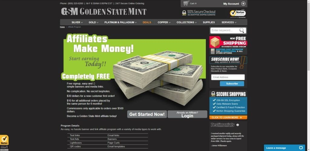coin collection affiliate programs - Golden State affiliate