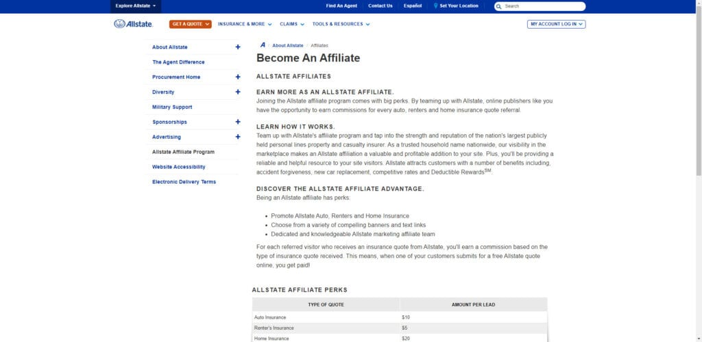 Insurance affiliate programs - Allstate affiliate
