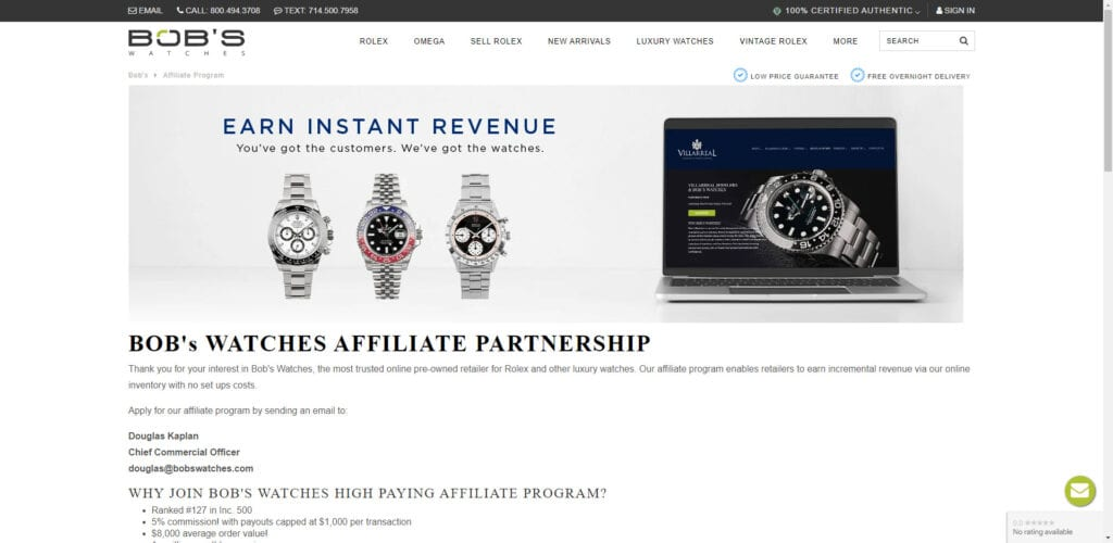 Watch affiliate programs - bobs watches affiliate