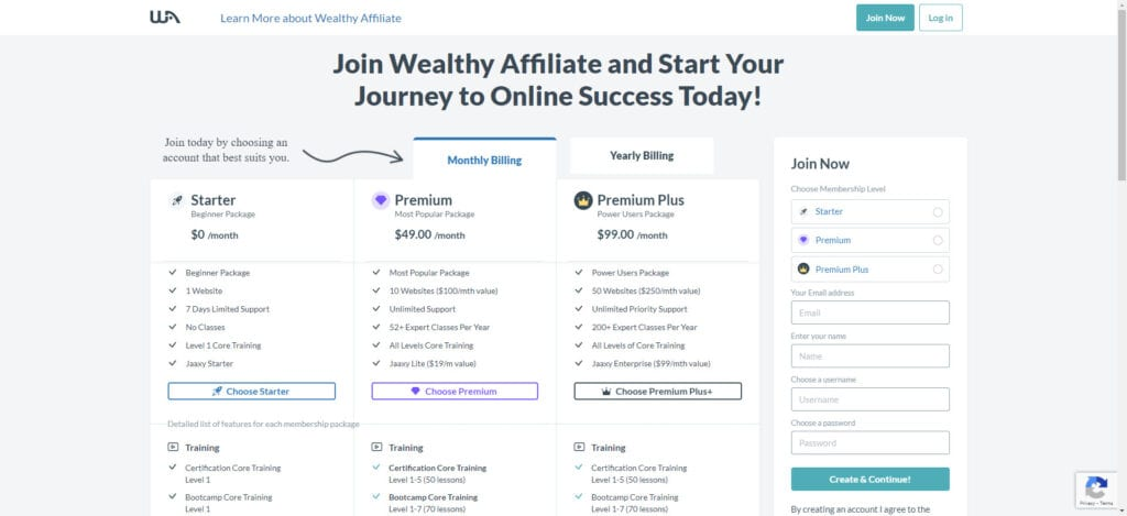 Wealthy Affiliate Access Page