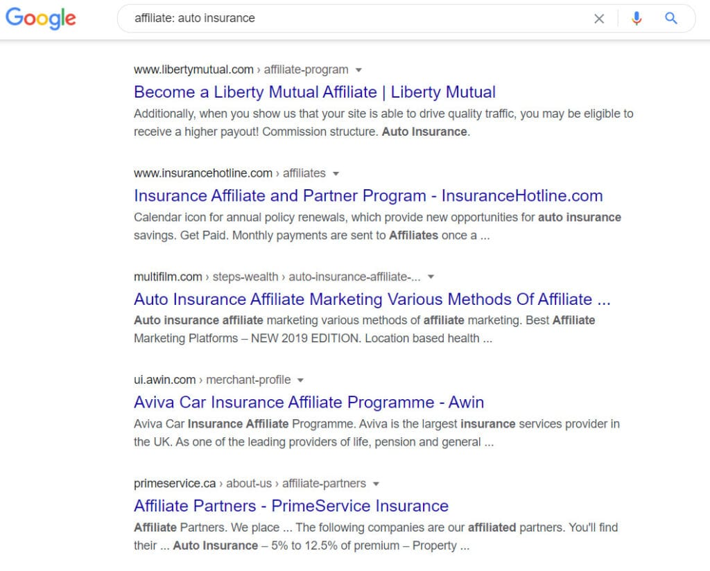 auto insurance affiliate programs - affilaite list