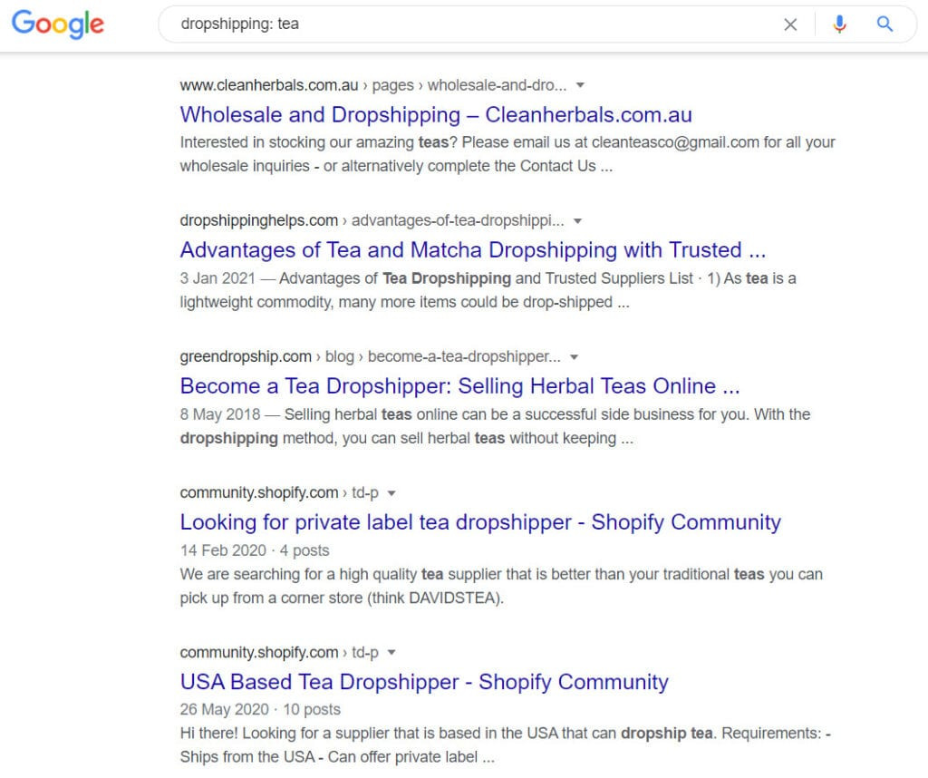 how to sell tea online - dropshipping