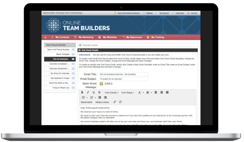 Online Team Builders Review - email