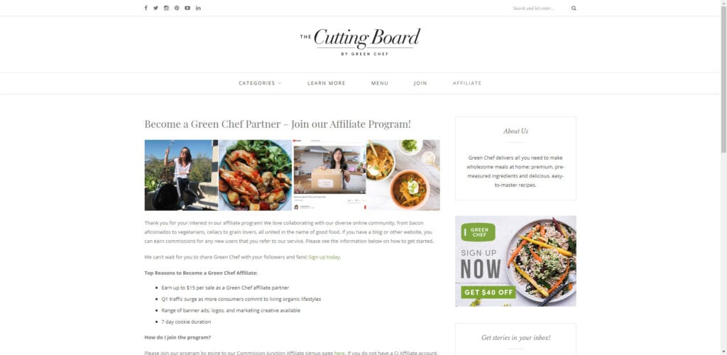 organic products affiliate - Green chef affiliate
