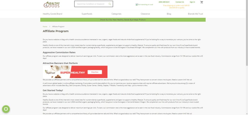 organic products affiliate - Healthy Foods Affiliate