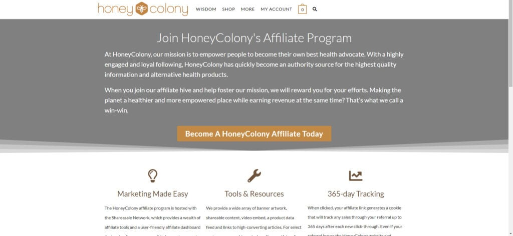 organic products affiliate - Honey Colony affiliate