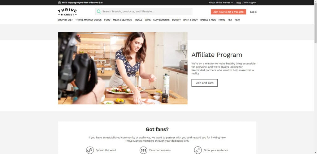 organic products affiliate - Thrive affiliate
