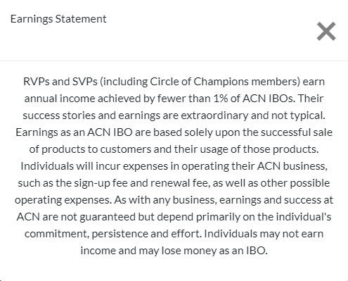 ACN MLM Review - Income disclosure