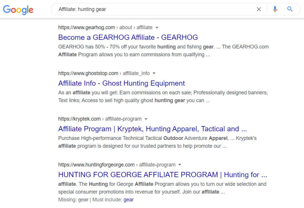 Sell hunting gear online - affiliate
