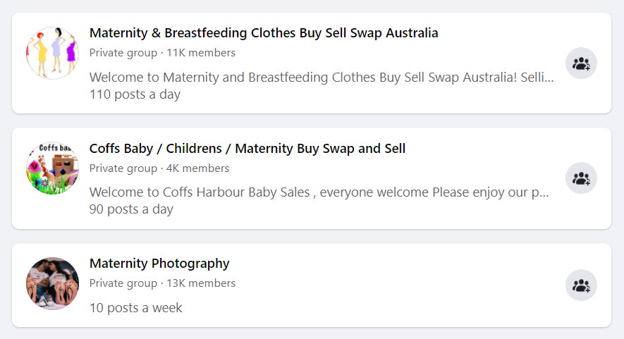 Sell maternity products - FB groups