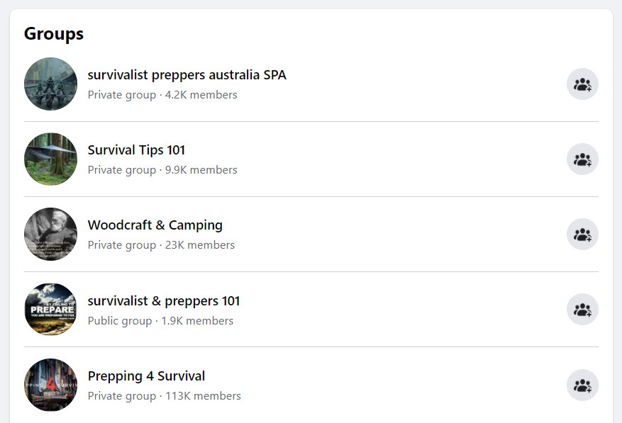 Sell survival gear online - FB groups