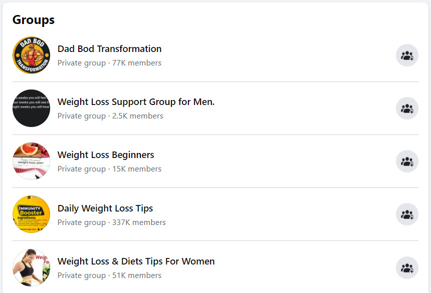 Sell weight loss online - FB groups