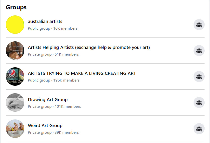 how to sell art online - FB groups