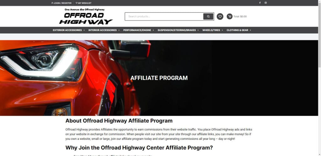 4x4 affiliate programs - offroad highway affiliate