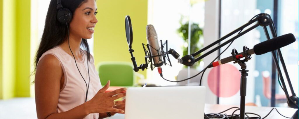 Best USB Microphones - Woman with stands